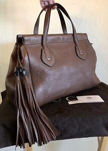 NEW Gucci Brown Leather Bamboo Tassel Handbag Tote Bag Retail $2,450.00