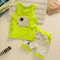 2PC Summer Toddler Kids Baby Boy T-shirt Tops + Shorts Pants Outfits Clothes Set