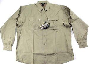 BLACKHAWK! Men's 2XL Light Weight Tactical Shirt Khaki Long Sleeve-NOT IN PACKAG