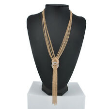 Fashion Women Gold Silver Long Chain Lariat Necklace Tassel Pendant Jewelry
