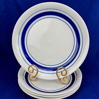 Pfaltzgraff CLIPPER  BLUE White Blue Bands Deep Dish Rimmed Dinner Plates Set 4