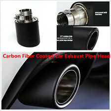 1x Universal 63-101mm Real Carbon Fiber Stainless Steel Car Exhaust End Pipe Tip