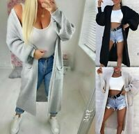 Ladies Chunky Knitted Oversized Balloon Sleeve Pockets Jumper Long Maxi Cardigan