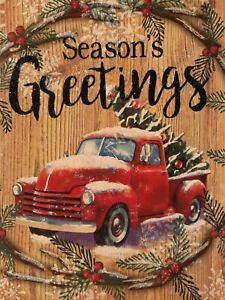 """""""Season's Greetings"""" Red Truck SIGN Wall Door Hanging Plaque Holiday Xmas 11x11"""