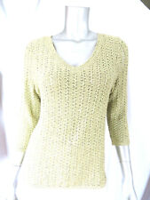 KATE HILL SZ PM Acrylic/Nylon Sage Green Crocheted V-Neck Sweater Pullover