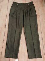 Karen Millen Grey Wool Blend Tapered Trousers Size 10 Pleat Front Pockets *Flaw*