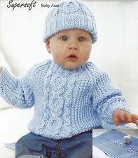 BABY ARAN SWEATER BLANKET & HAT 16/26 INCH  KNITTING PATTERN  (1055)