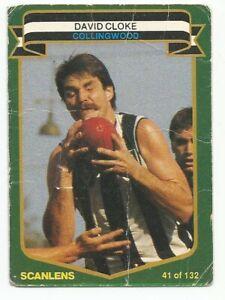 SCANLENS AFL 1985 - No. 41 - David Cloke - Collingwood