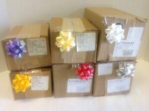 "24-100 MINI 2"" Birthday Valentine Gift Confetti Star Bows ~Ylw-Silver-Red-white"