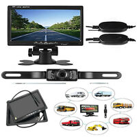 "170° License Plate Backup Rear View Camera + 7"" TFT LCD Monitor for Car Vehicle"