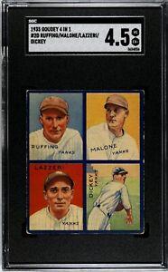 1935 Goudey 4-in1 Ruffing (HOF)/ Malone/ Lazzeri (HOF)/ Dickey (HOF) SGC 4.5