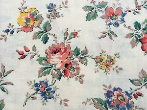 Lovely unused vintage 40's 50's floral cotton interiors fabric - 80cm lengths