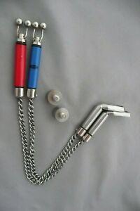 PAIR/2 HANGER BOBBIN BITE INDICATORS-RED/BLUE NGT HEADS+STAINLESS HOCKEY STICKS