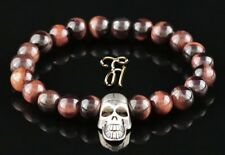 rotes Tigerauge Armband Bracelet Perlenarmband silberfarbener Totenkopf Skull