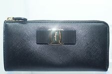 New Salvatore Ferragamo Vara Bow Wallet Icona Women's Black Continental Bag