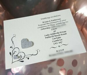 10 Handmade Personalised Heart Wedding Invitations day / evening free envelopes