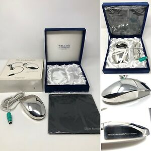Wallace Silversmiths SILVER PLATED COMPUTER MOUSE w/ Box & Mouse Pad Gift Set