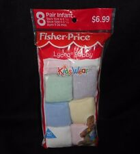 VINTAGE FISHER PRICE LYCRA BOBBY KIDS WEAR 8 PAIR INFANT SOCKS 9-24 IN PACKAGE