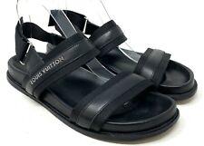 Auth LOUIS VUITTON Logo Sandals US 8 Leather Black Slingback Belt Rank AB