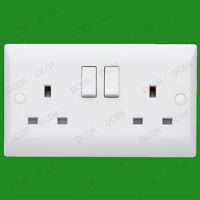 2 Gang, White Switched 13A Double Mains UK 3 pin Twin Wall Power Socket Outlet