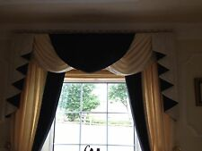 CREAM & BLACK  DESIGNER CURTAINS SWAGS AND TAILS