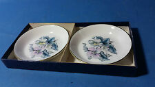 Pair of Royal Worcester Floral Butter Pats / Pin Dishes With Box Porcelaine