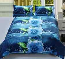 3D Brushed Printed Rose Duvet / Quilt Cover Bed Sheet Pillow Case Bedding Set