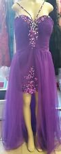 NWT Mary's Bridal Kiss Kiss Pageant Prom Party Purple Sequins Dress Size 14