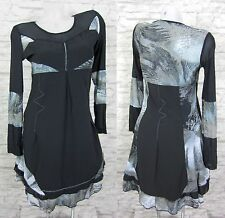 GLAMZ Sommerkleid Tunika Kleid Bluse Longshirt Schwarz Gr. 36 (T184) FRANSTYLE