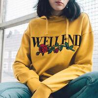 Womens Long Sleeve Yellow Hoodie Sweatshirt Jumper Hooded Pullover Tops Blouse