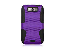 For LG Connect 4G MS840 MESH Hybrid Rubber Silicone Skin Case Cover Purple