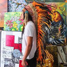 INDIAN HEADDRESS ORANGE FEATHERS Chief War bonnet Costume Native American