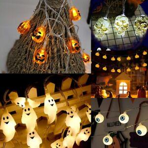1.5M 10 LED Pumpkin Ghost String Lights Decoration Lantern Props Halloween Rave