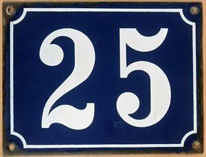 Large old blue French house number 25 door gate plate plaque enamel steel sign