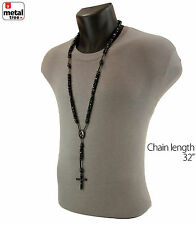 Hip Hop Shiny Glass 8mm Black Bead Rosary Pray Hand & Jesus Cross Necklace BK