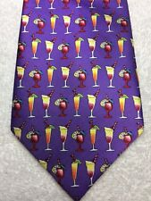 ENGLISH SPORTS SHOP MENS TIE PURPLE WITH COCKTAILS, NWOT 4 X 58