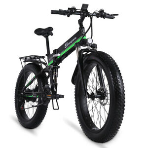 1000W Snow Fat Tire Green Color 48V12Ah Folding Electric Bicycle with battery