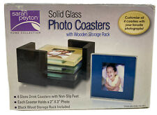 SARAH PEYTON HOME, 4 SOLID GLASS PHOTO COASTERS WITH BLACK WOOD HOLDER, New.
