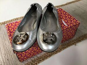 Tory Burch Silver Leather Metallic Reva Ballet Flat Size 8.5 BUC