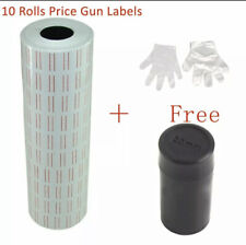 10 Rolls 6000pcs White Price Gun Labels for Mx-5500+Free Refill Ink Roll