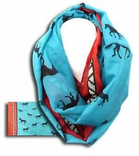 """Red & Turquoise Infinity Woven Scarf with Running Horses 62"""" x 34"""""""