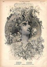 Nymphe du Printemps & Zéphyrs Composition & Dessin de Daniel Vierge GRAVURE 1877