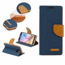 ^ Book Case CANVAS Cover Hülle Handy Tasche Etui Huawei Mate 10 Lite D. Blau