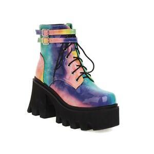 Womens Fashion Patent Multicolor Buckle Lace Up Platform Combat Boots Shoes SUNS