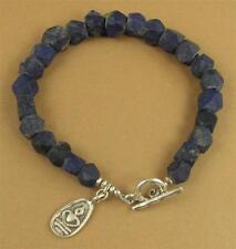 Lapis lazuli chunky bracelet. Buddha charm. Unpolished. Sterling silver.Handmade