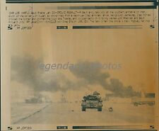 1991 War with Iraq Saudi Tank and Smoking Iraqi Vehicle Original Laserphoto