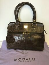 MODALU LONDON CHOCOLATE BROWN CROC LEATHER PIPPA TOTE BAG COST £249