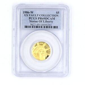 1986-W US VAULT COLLECTION STATUE OF LIBERTY $5 GOLD PIECE 0.917 PCGS PR69DCAM