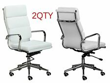 Eames Replica High Back Office Chair - WHITE Vegan Leather - Pack of 2 Chairs