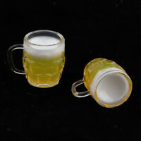 1 Pair Dollhouse Miniature Drinking Low Beer Mugs Cups Set for 1:12 scale